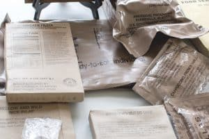 a selection of militart meals ready to eat in their packaging