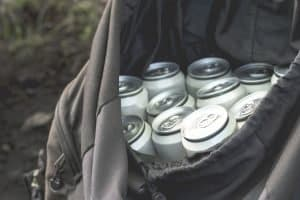 open backpack cooler with multiple cans inside