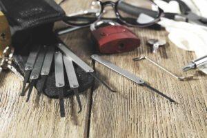 lock picking tools on table
