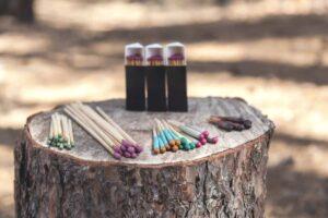 waterproof matches on tree stump in wilderness