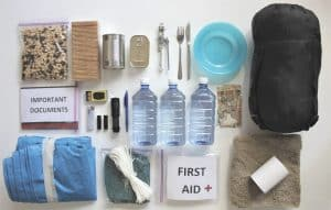 contents of a bug out emergency kit bag laid on table