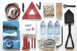 car survival kit laid out on white background