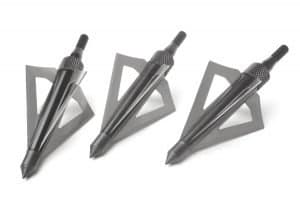 Three crossbow broadheads on display