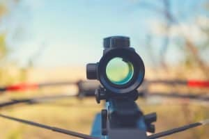 Looking through the back of a crossbow scope