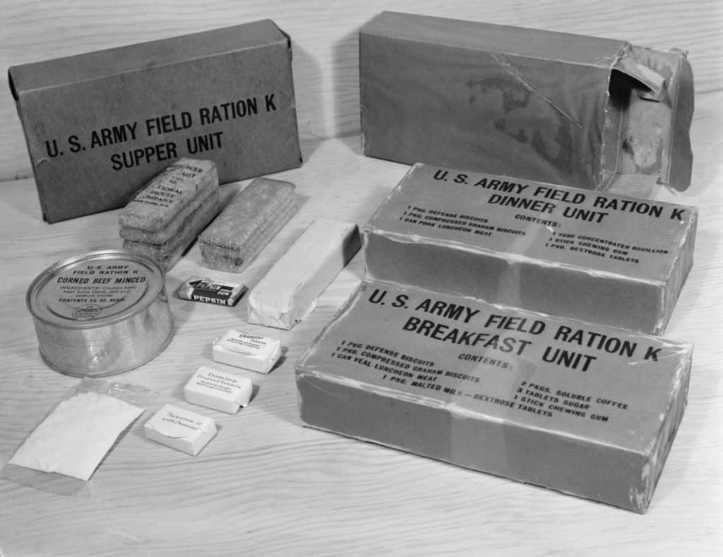 army military food rations on display