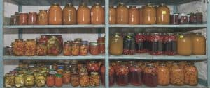 food stored in mason jars stored on shelving