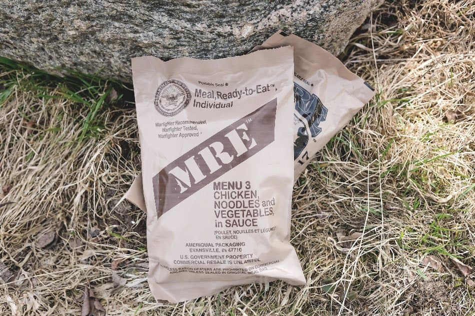 mre food ration pouch on ground