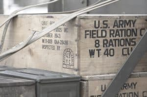 us army field rations crate with military meals ready to eat inside