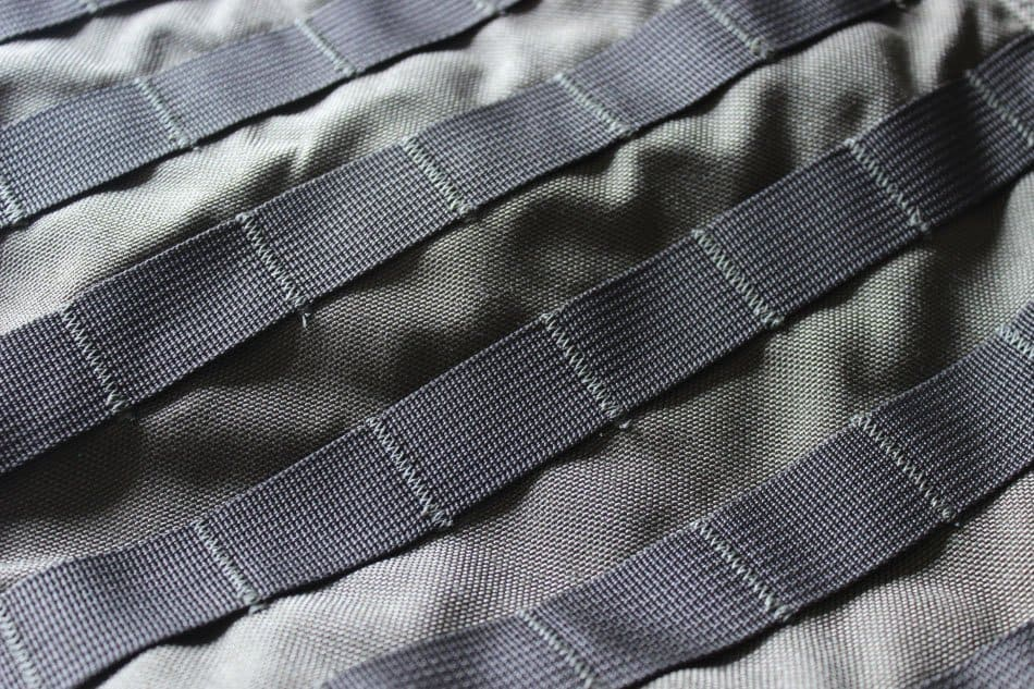 close up detail of molle straps on tactical backpack