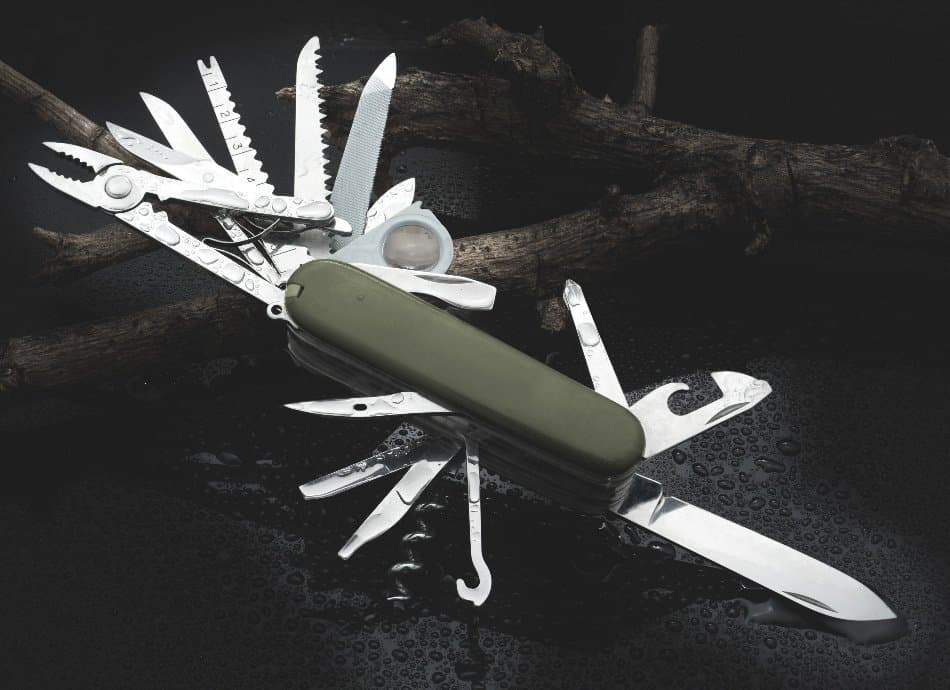 a multi tool opened showing all of its contents