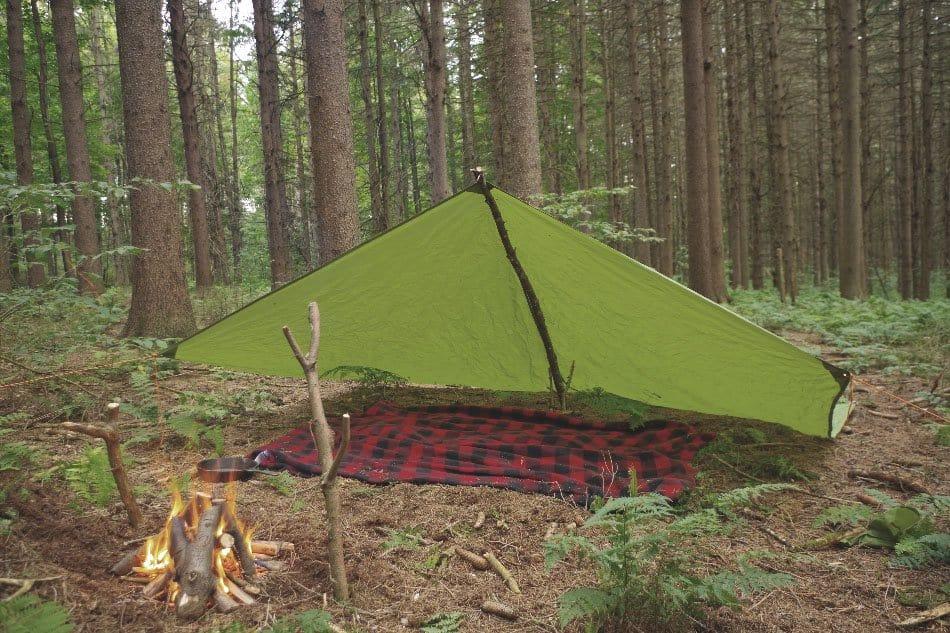 tarp shelter in woods