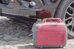 portable generator being used in an emergency car breakdown