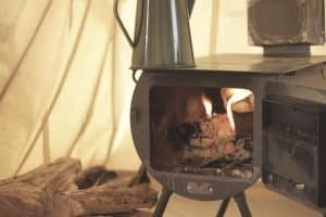 wood burning in tent stove