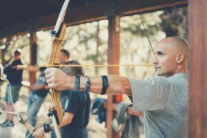 A man in an Archery range