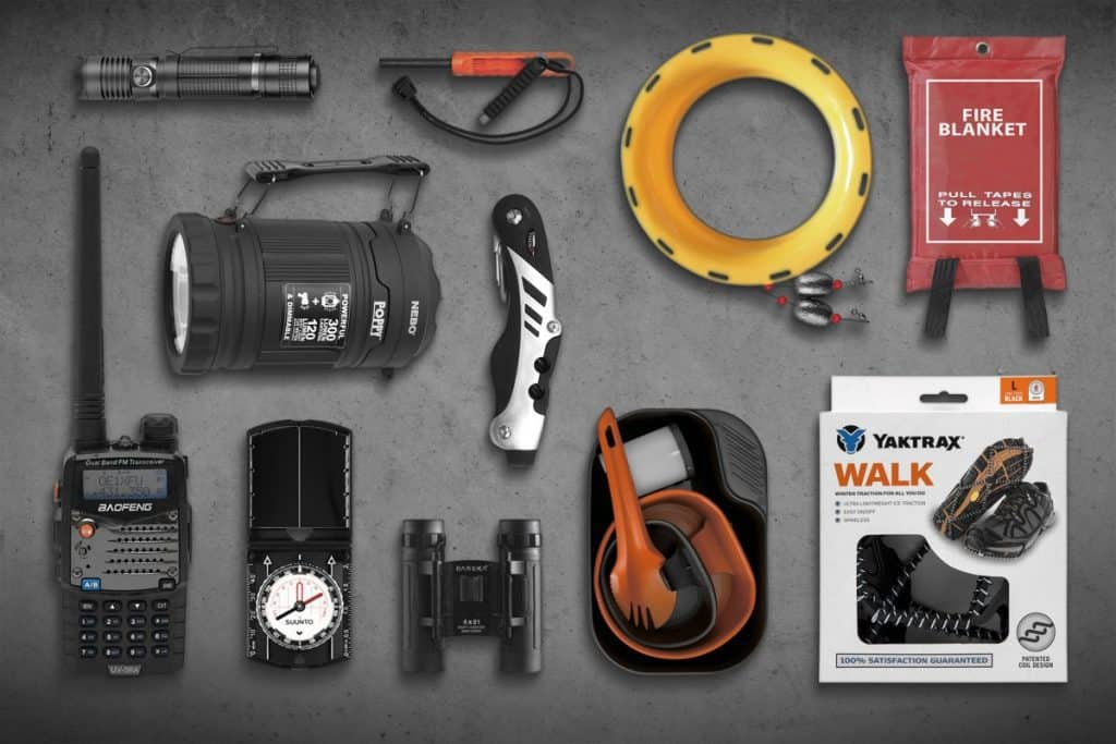 essential survival gear on display
