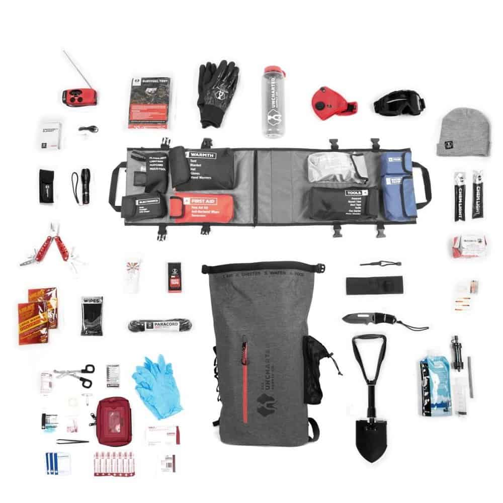 contents of the seventy2 survival kit laid out on display
