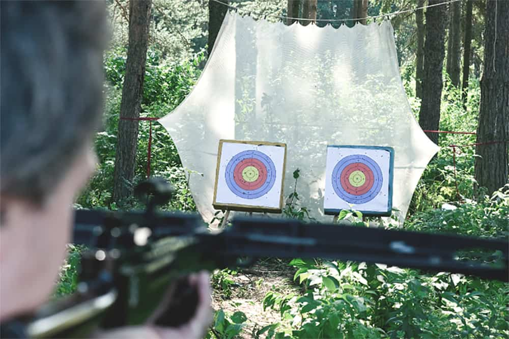 outdoor crossbow range with targets in the distance