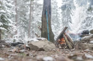 survival campfire is winter forest